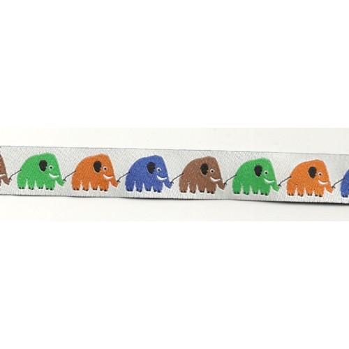 Rubans Tissés Eléphants blanc/multi