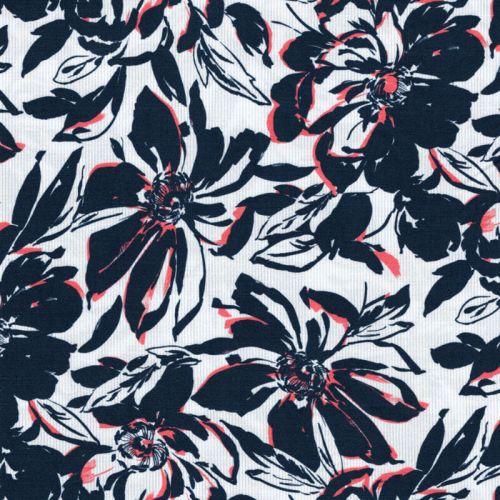 Tissu  fleurs sur rayures 97%cot/3%el larg 140 cm