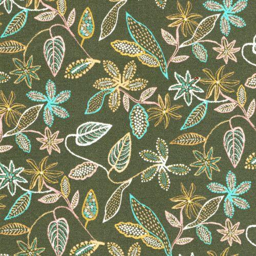 Tissu coton fleurs en pointillé fond vert