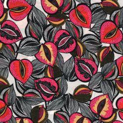 Tissu viscose fleurs style wax