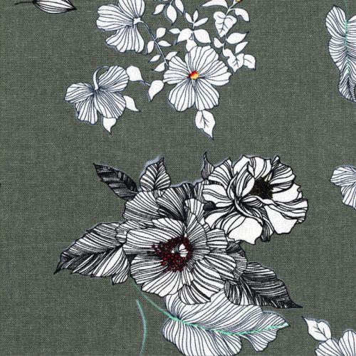 Tissu viscose grandes fleurs blanches fond vert