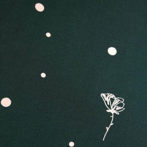 Tissu viscose crêpe serge polk poppies vert sapin -  Eglantine et Zoé