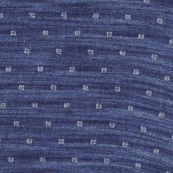 Tissu chambray carré argent lurex fond bleu jean