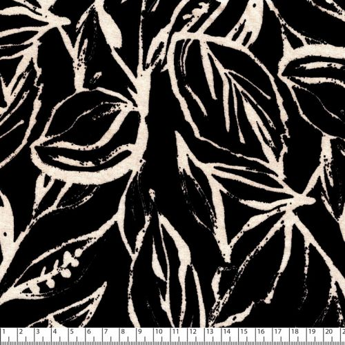Tissu jersey viscose fleurs beige fond noir