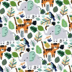 Tissu french terry animaux savane fond blanc