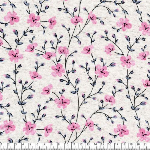 Tissu jersey viscose fleurs de cerisier fond beige chiné