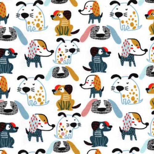 Tissu sweat fin sweet dogs Poppy 95%cotBIO/5%el larg 150 cm