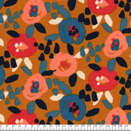 Tissu French Terry painted flowers Poppy 94%cot/6%el larg 15