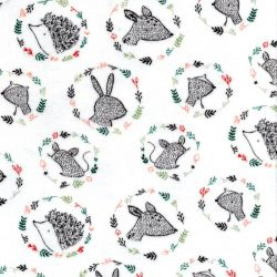Tissu jersey velours portraits forêt 80%cot/20%pol larg 150