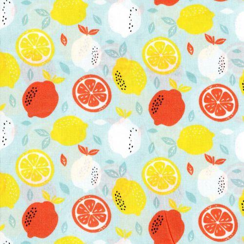 Tissu coton Fresh lemon Poppy fond bleu