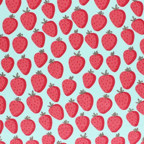 Tissu French terry sweet strawberry glitter fond vert d'eau