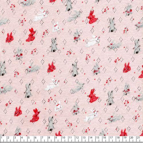 Tissu jersey ajouré pointelle lapins fond rose layette 100%