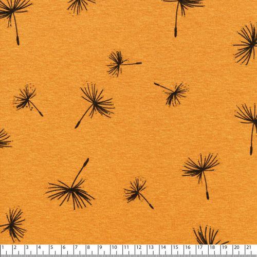 Tissu sweat dandelion glitter fd moutarde 40%cot/56%pol/4%el