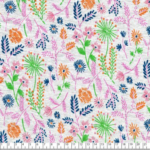Tissu sweat fleurs multi fd gris 40%cot/56%pol/4%el larg 150