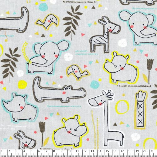 Tissu coton sweet zoo animals  fd gris Poppy 100% cot larg 1