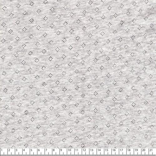 Tissu jersey ajouré pointelle gris 100% cot larg 140 cm