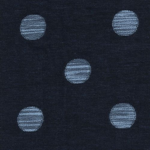 Tissu lin marine brodé ronds bleu 40%lin/60%cot larg 140 cm