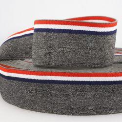 Ceinture élastique stripe gris bleu/blanc/rouge