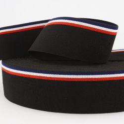 Ceinture élastique stripe noir bleu/blanc/rouge