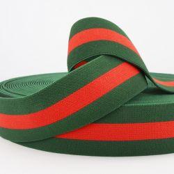 Ceinture élastique stripe vert/rouge