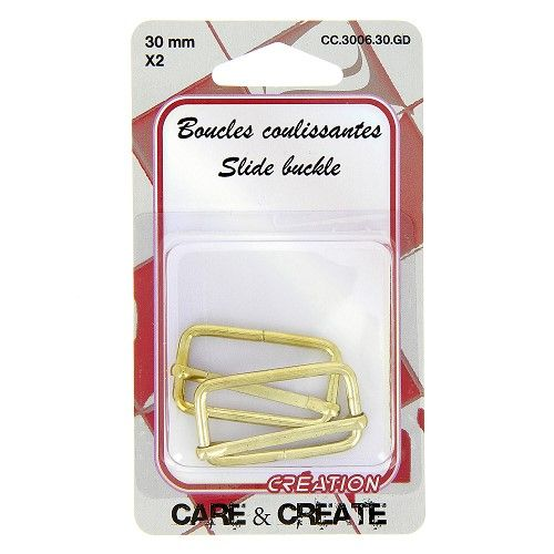 Boucles coulissantes 30 mm x 2 or