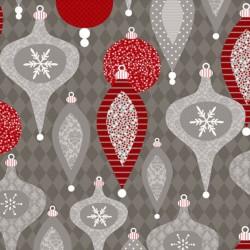 Tissu décorations de Noël sur fond gris - Wilmington Prints
