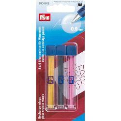 Recharge mines pour stylo à mines 0.9mm jaune/noir/fuchs
