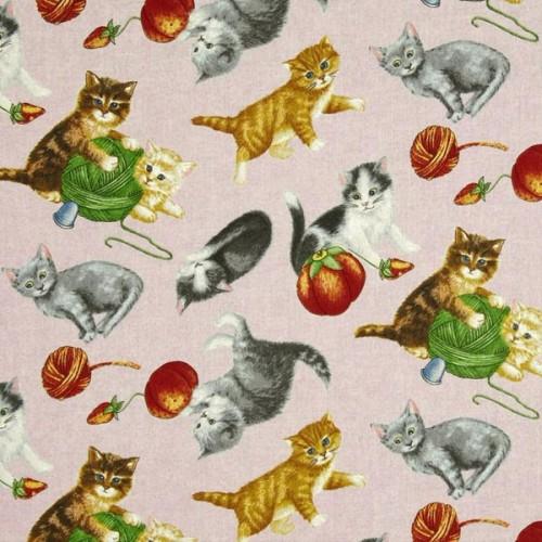Tissu patch chatons fond beige RJR