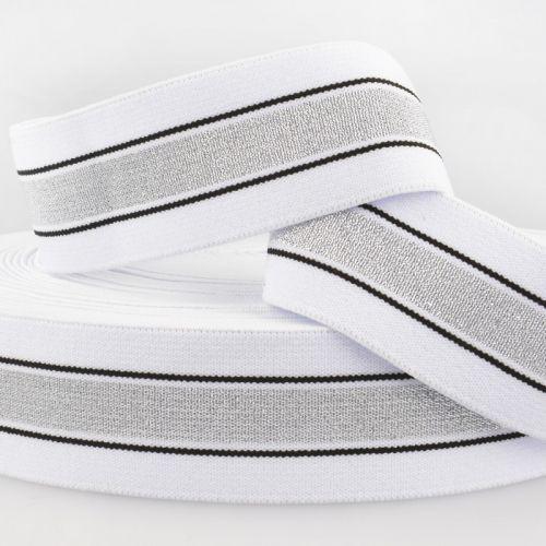 Ceinture élastique stripe métal argent noir fd blanc