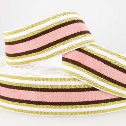 Ceinture élastique stripe métal doré rose/brun