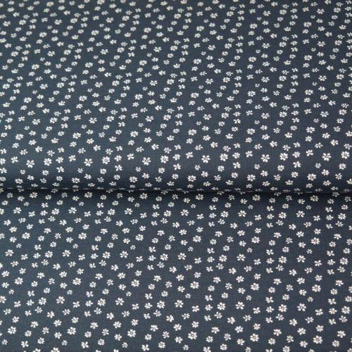 Tissu popeline imprimé petites fleurs fond bleu marine