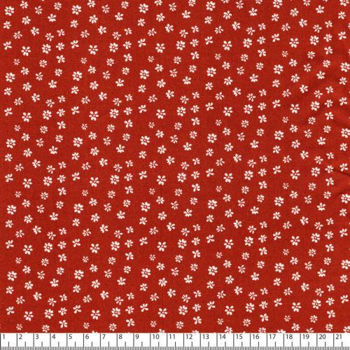 Tissu popeline imprimé petites fleurs fond rouille