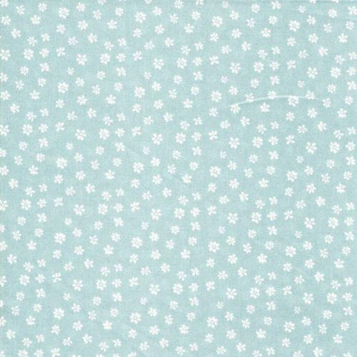 Tissu popeline imprimé petites fleurs fond vert d'eau