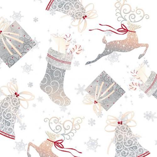 Tissu Noël patch 100% coton largeur 110 cm