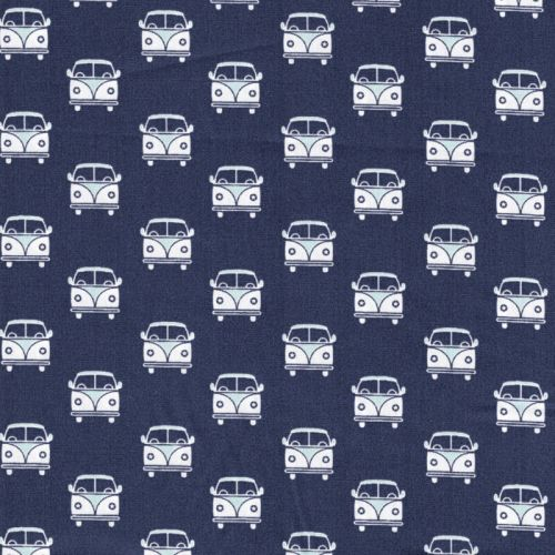 Tissu popeline imprimé vans fond bleu marine