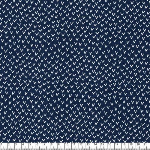 Tissu popeline imprimé graphique blanc fond bleu marine