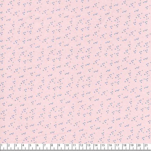 Tissu popeline imprimé pois gris fond rose