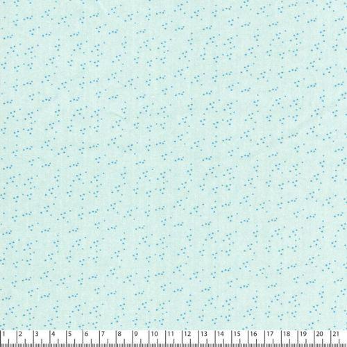 Tissu popeline imprimé pois bleu jean fond vert d'eau