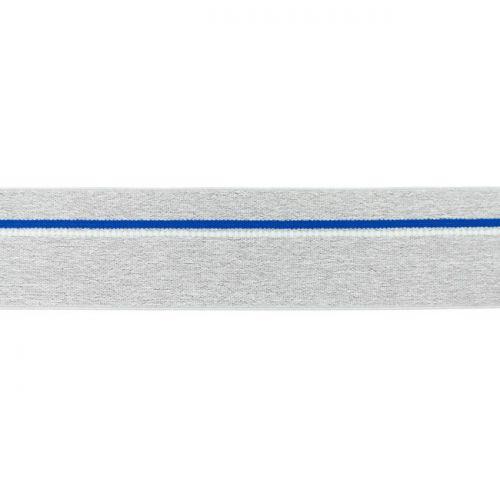 Elastique ligne bleu gris chiné clair 40mm