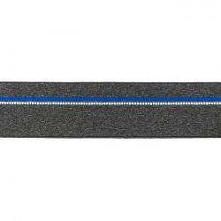 Elastique ligne bleu gris chiné foncé 40mm