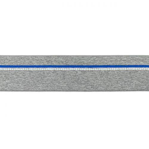 Elastique ligne bleu gris chiné moyen 40mm