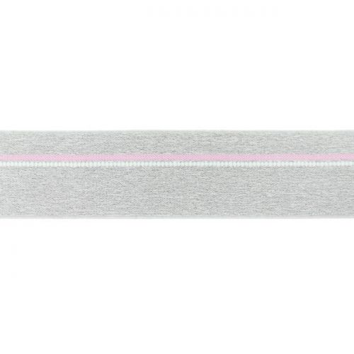 Elastique ligne rose gris chiné clair 40mm