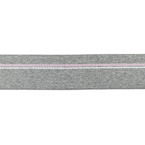Elastique ligne rose gris chiné moyen 40mm