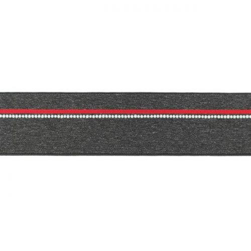 Elastique ligne rouge gris chiné foncé 40mm