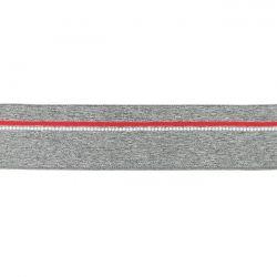 Elastique ligne rouge gris chiné moyen 40mm