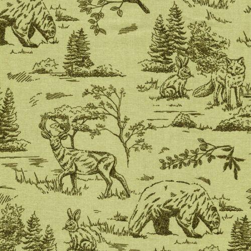 Tissu nature fond vert