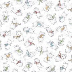 Tissu coton imprimé lapins frileux
