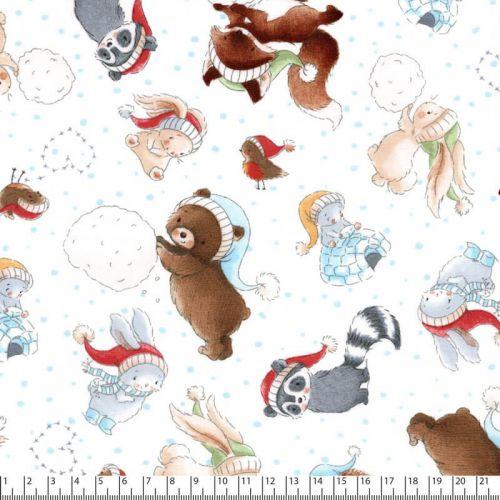 Tissu Bunnies & friends à la neige 100% coton larg 110 cm