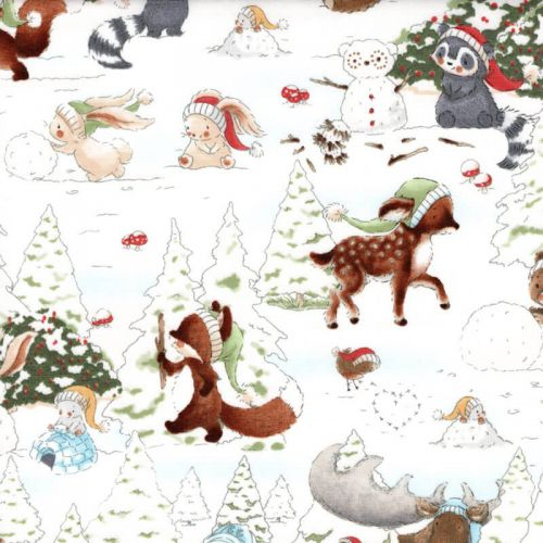 Tissu coton imprimé bunnies & friends dans la forêt