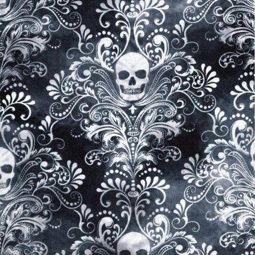 Tissu coton imprimé tête de mort fond graphite